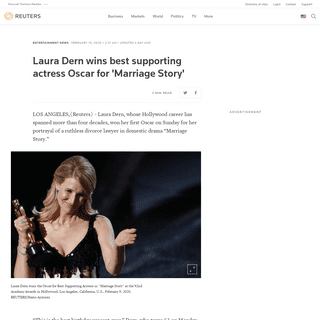 Laura Dern wins best supporting actress Oscar for 'Marriage Story' - Reuters