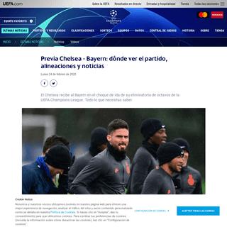 ArchiveBay.com - es.uefa.com/uefachampionsleague/news/025a-0ea33c8347a0-f2620e1e6516-1000--previa-chelsea-bayern-donde-ver-el-partido-alineaciones-y-notic/ - Previa Chelsea - Bayern- dónde ver el partido, alineaciones y noticias - UEFA Champions League - UEFA.com