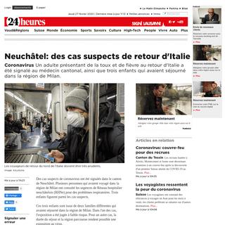 Coronavirus- Neuchâtel- des cas suspects de retour d'Italie - News - 24heures.ch