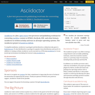Asciidoctor - A fast, open source text processor and publishing toolchain for converting AsciiDoc content to HTML5, DocBook, PDF