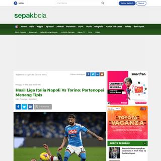Hasil Liga Italia Napoli Vs Torino- Partenopei Menang Tipis