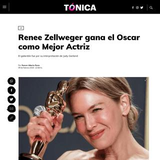 Renee Zellweger gana el Oscar como Mejor Actriz - Tónica