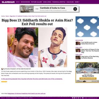 Bigg Boss 13- Siddharth or Asim Riaz- Exit Poll results out - Glamsham