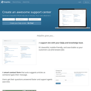 HelpSite- Make a Knowledge Base - Support Center - for free!
