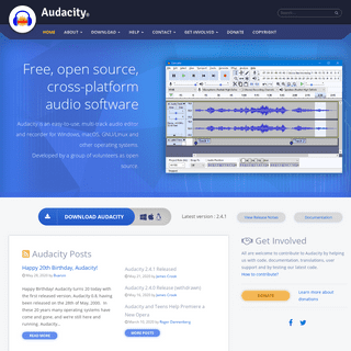 Audacity ® - Free, open source, cross-platform audio software for multi-track recording and editing.