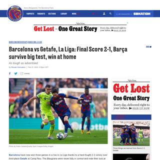 Barcelona vs Getafe, La Liga- Final Score 2-1, Barça survive big test, win at home - Barca Blaugranes