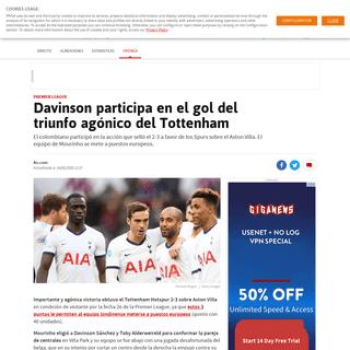 Davinson participa en el gol del triunfo agónico del Tottenham - AS Colombia
