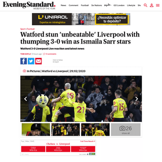 Watford 3-0 Liverpool LIVE score and result- Sarr stars vs 'unbeaten' LFC - London Evening Standard