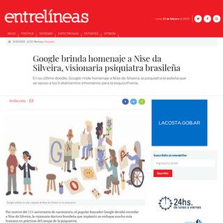 Google brinda homenaje a Nise da Silveira, visionaria psiquiatra brasileña - Entrelíneas.info