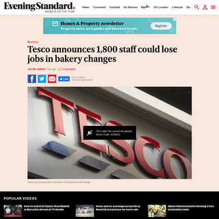 Tesco announces 1,800 staff could lose jobs in bakery changes - London Evening Standard