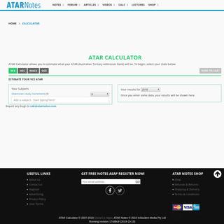 Estimate your VCE ATAR - VCE ATAR Calculator - ATAR Notes