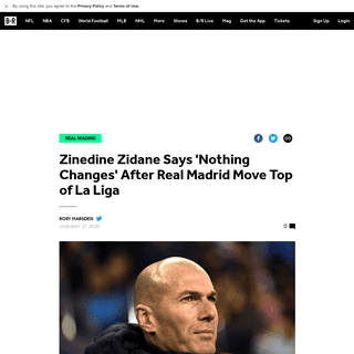 Zinedine Zidane Says 'Nothing Changes' After Real Madrid Move Top of La Liga - Bleacher Report - Latest News, Videos and Highlig
