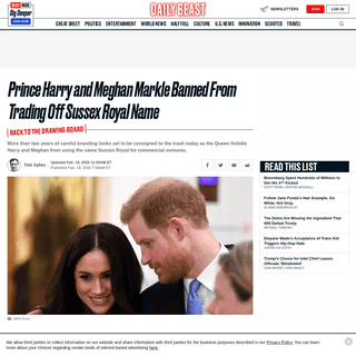ArchiveBay.com - www.thedailybeast.com/prince-harry-and-meghan-markle-banned-from-trading-off-sussex-royal-name - Prince Harry and Meghan Markle Banned From Trading Off Sussex Royal Name