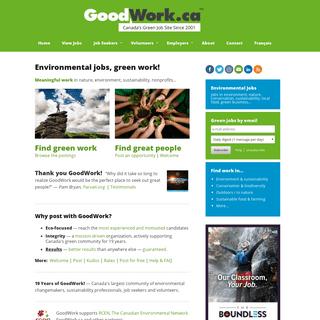 Environmental Jobs, Green Jobs, Conservation Jobs - GoodWork.ca