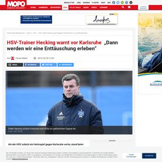"""HSV- Dieter Hecking warnt gegen Karlsruher SC vor """"Enttäuschung"""" - MOPO.de"""