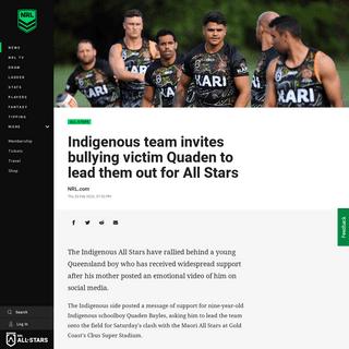 ArchiveBay.com - www.nrl.com/news/2020/02/20/indigenous-team-invites-bullying-victim-quaden-to-lead-them-out-for-all-stars/ - Indigenous team invites bullying victim Quaden to lead them out for All Stars - NRL