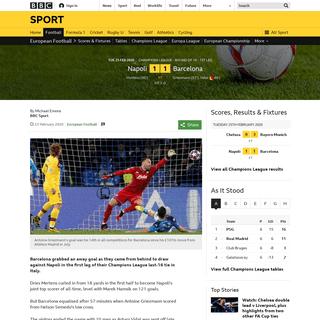 ArchiveBay.com - www.bbc.co.uk/sport/football/51623065 - Napoli 1-1 Barcelona- Antoine Griezmann gives Spanish side vital away goal - BBC Sport
