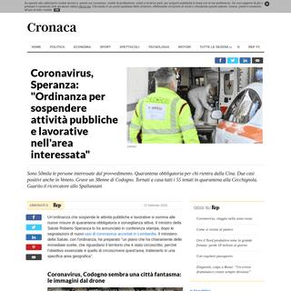 Coronavirus, Speranza- -Ordinanza per sospendere attività pubbliche e lavorative nell'area interessata- - la Repubblica