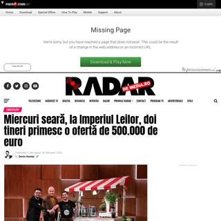 Miercuri seară, la Imperiul Leilor, doi tineri primesc o ofertă de 500.000 de euro - Radar de Media