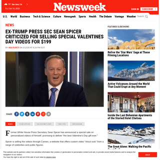 ArchiveBay.com - www.newsweek.com/ex-trump-press-sec-sean-spicer-criticized-selling-special-valentines-day-videos-199-1487077 - Ex-Trump Press Sec Sean Spicer Criticized for Selling Special Valentines Day Videos for $199
