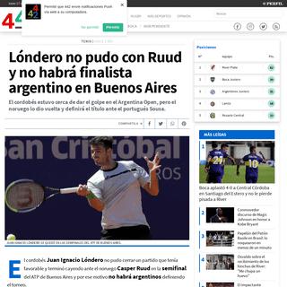 442 - Lóndero no pudo con Ruud y no habrá finalista argentino en Buenos Aires