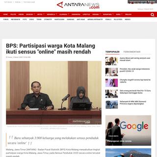 BPS- Partisipasi warga Kota Malang ikuti sensus -online- masih rendah - ANTARA News