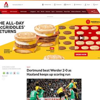 Dortmund beat Werder 2-0 as Haaland keeps up scoring run - CNA