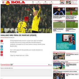 A BOLA - Haaland não pára de marcar (vídeo) (Borussia Dortmund)