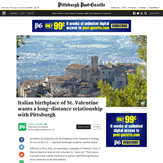 ArchiveBay.com - www.post-gazette.com/local/city/2020/02/13/Terni-italy-st-valentine-pittsburgh-valentines-day-sister-city-search/stories/202002130144 - Italian birthplace of St. Valentine wants a long-distance relationship with Pittsburgh - Pittsburgh Post-Gazette