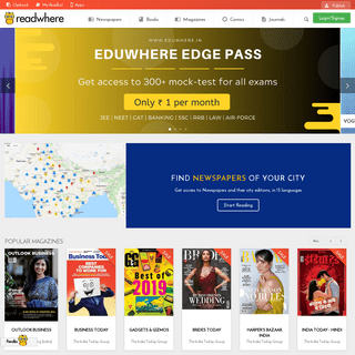 Newspapers,Magazines,books,comics-Read on web,android & iOS-Readwhere