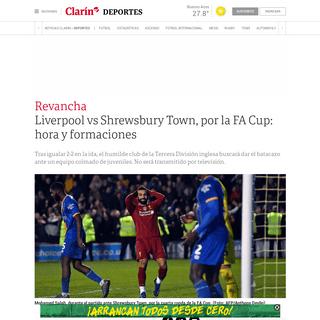 Liverpool vs Shrewsbury Town, por la FA Cup- hora y formaciones - Clarín