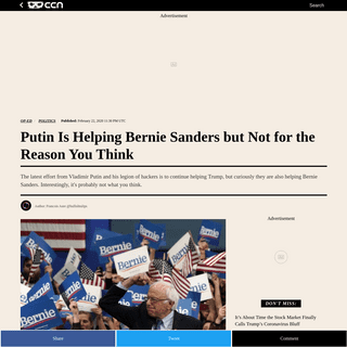 Putin Is Helping Bernie Sanders but Not for the Reason You Think