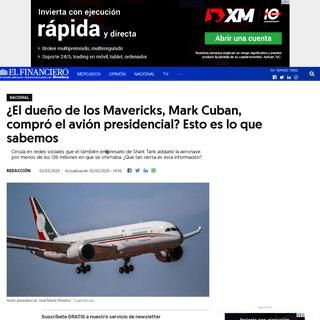 ¿El dueño de los Mavericks, Mark Cuban, compró el avión presidencial- Esto es lo que sabemos