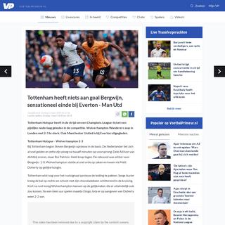 Tottenham heeft niets aan goal Bergwijn, sensationeel einde bij Everton - Man Utd - Voetbalprimeur