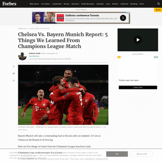 Chelsea Vs. Bayern Munich Report- 5 Things We Learned From Champions League Match
