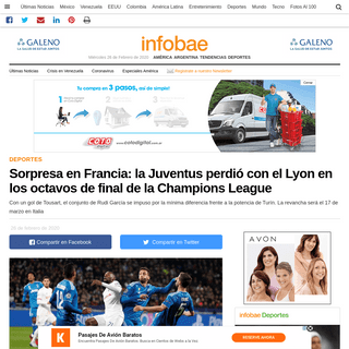 Sorpresa en Francia- la Juventus perdió con el Lyon en los octavos de final de la Champions League - Infobae
