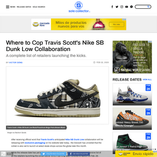 Travis Scott Nike SB Dunk Low Collab- Here's Where To Buy The Shoe - Sole Collector