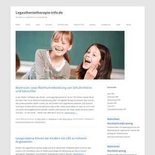 Legasthenietherapie-info.de - Aktuelles zu Legasthenie und Dyskalkulie