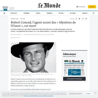 Robert Conrad, l'agent secret des «Mystères de l'Ouest», est mort