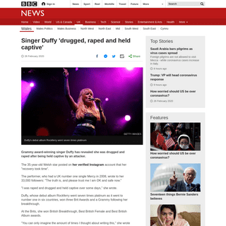 Singer Duffy 'drugged, raped and held captive' - BBC News