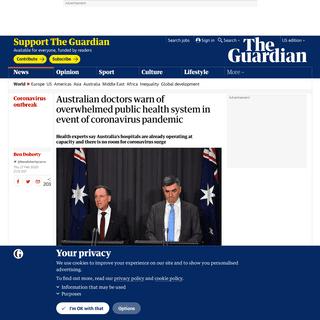Australian doctors warn of overwhelmed public health system in event of coronavirus pandemic - World news - The Guardian