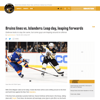 Bruins lines vs. Islanders- Leap day, leaping forwards - Stanley Cup of Chowder