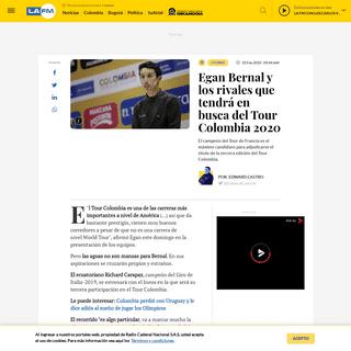 Tour Colombia 2020- Egan Bernal y los rivales que tendrá - La FM