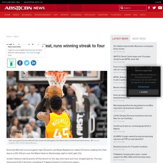 NBA- Jazz defeats Heat, runs winning streak to four - ABS-CBN News