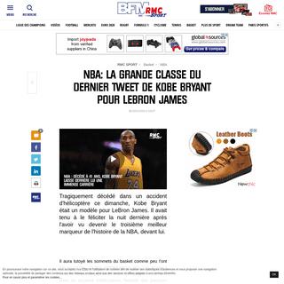 NBA- la grande classe du dernier tweet de Kobe Bryant pour LeBron James