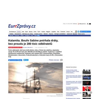 Kalamita. Bouře Sabine potrhala dráty, bez proudu je 280 tisíc odběratelů - EuroZprávy.cz