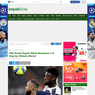 PSG Susah Payah Tekuk Bordeaux 4-3, Neymar Dikartu Merah