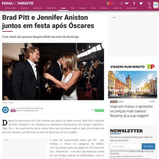 Brad Pitt e Jennifer Aniston juntos em festa após Óscares