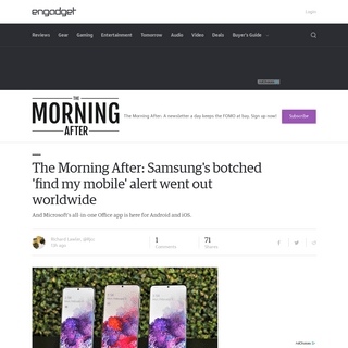 The Morning After- Samsung's botched 'find my mobile' alert went out worldwide - Engadget
