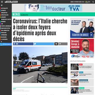 ArchiveBay.com - www.journaldemontreal.com/2020/02/22/coronavirus-litalie-touchee-de-plein-fouet-et-inquiete-apres-deux-deces - Coronavirus- l'Italie cherche à isoler deux foyers d'épidémie après deux décès - JDM